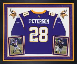 Adrian Peterson Autographed Vikings Replica Jersey - Deluxe Framed