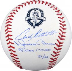 Andy Pettitte &  Mariano Rivera New York Yankees Autographed Baseball with MLB Record 81 Wins/Saves Inscription - Mounted Memories