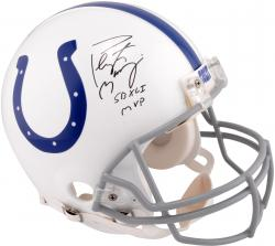 Peyton Manning Indianapolis Colts Autographed Pro-Line Riddell Authentic Helmet with SB XLI MVP Inscription