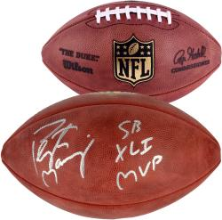 Peyton Manning Indianapolis Colts Autographed Duke Pro Football with SB XLV MVP Inscription - Mounted Memories