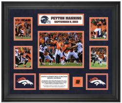 Peyton Manning Denver Broncos 7 Touchdowns Framed 5-Photograph Collage with Piece of Game-Used Football - Mounted Memories