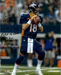 Peyton Manning Denver Broncos Autographed 16'' x 20'' Photograph with Multiple Stats Inscription-Limited Edition #2-17 of #18 - Mounted Memories