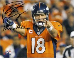 Peyton Manning Denver Broncos Autographed 8'' x 10'' Photograph with Happy Holidays Inscription - Mounted Memories