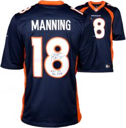 "Peyton Manning Denver Broncos  Becomes NFL All-Time Passing Touchdown Record Leader Autographed Navy Blue Nike Limited Jersey with ""NFL TD REC 509"" Inscription"