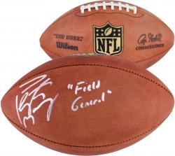 Peyton Manning Denver Broncos Autographed Duke Football with Field General Inscription