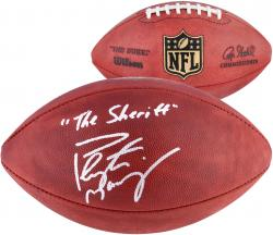 Peyton Manning Denver Broncos Autographed Duke Football with The Sheriff Inscription