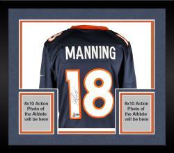 Framed Peyton Manning Denver Broncos Autographed Nike Navy Limited Jersey
