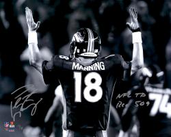 "Peyton Manning Denver Broncos Becomes NFL All-Time Passing Touchdown Record Leader Autographed 16'' x 20'' Spotlight Photograph with ""NFL TD REC 509 10/19/14"" Inscription"