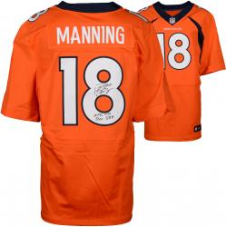 "Peyton Manning Denver Broncos Becomes NFL All-Time Passing Touchdown Record Leader Autographed Orange Nike Elite Jersey with ""NFL TD REC 509 10/19/14"" Inscription"