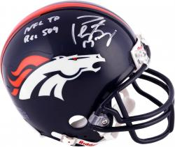 "Peyton Manning Denver Broncos Becomes NFL All-Time Passing Touchdown Record Leader Autographed Riddell Mini Helmet with ""NFL TD REC 509 10/19/14"" Inscription"