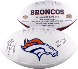 "Peyton Manning Denver Broncos Becomes NFL All-Time Passing Touchdown Record Leader Autographed White Panel Football with ""NFL TD REC 509 10/19/14"" Inscription"