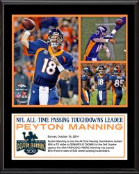 "Peyton Manning Denver Broncos Becomes NFL All-Time Touchdown Passing Record Leader 12"" X 15"" Submlimated Plaque"