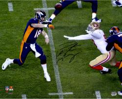 "Peyton Manning Denver Broncos Becomes NFL All-Time Touchdown Passing Record Leader Autographed  16"" X 20"" Over The Top Throw Photograph"
