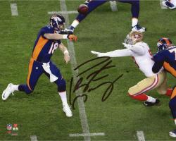 "Peyton Manning Denver Broncos Becomes NFL All-Time Touchdown Passing Record Leader Autographed 8"" X 10"" Over The Top Throw Photograph"