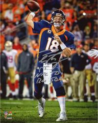 "Peyton Manning Denver Broncos Becomes NFL All-Time Touchdown Passing Record Leader Autographed 8"" X 10"" Photograph with ""NFL TD REC 509 10/19/14"" Inscription Signed in Silver Ink"