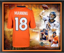 "Peyton Manning Denver Broncos Becomes NFL All-Time Touchdown Passing Record Leader Autographed Framed White Jersey Collage 40"" x 32"