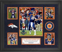 "Peyton Manning Denver Broncos Becomes NFL All-Time Touchdown Passing Record Leader Framed 20"" X 24"" 5-Photo Collage With a Piece of Game-Used Football – Limited Edition of 250"