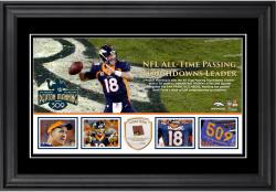 Peyton Manning Denver Broncos Becomes NFL All-Time Touchdown Passing Record Leader Framed Panoramic With a Piece of Game-Used Football - Limited Edition of 250