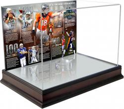 Peyton Manning Denver Broncos Becomes NFL All-Time Touchdown Passing Record Leader Mahogany Base Football Display Case with Timeline Back