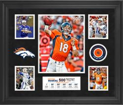 "Peyton Manning Denver Broncos Becomes the 2nd QB In NFL History To Pass for 500 Career Touchdowns Framed 20"" X 24"" 5-Photo Collage With Game-Used Football – Limited Edition of 250"