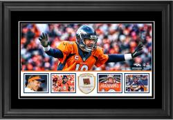 "Peyton Manning Denver Broncos Framed 10"" x 18""  Panoramic with Piece of Game-Used Football - Limited Edition of 250"