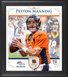 "Peyton Manning Denver Broncos Framed 15"" x 17"" Composite Collage with Piece of Game-Used Football"