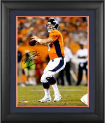 "Peyton Manning Denver Broncos Framed Autographed 16"" x 20"" Vertical Orange Uniform Throw Photograph"