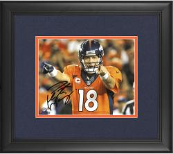 "Peyton Manning Denver Broncos Framed Autographed 8"" x 10"" Horizontal Orange Uniform Point Photograph"