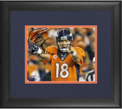 "Peyton Manning Denver Broncos Framed Autographed 8"" x 10"" Photograph with Happy Holidays Inscription"
