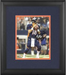 "Peyton Manning Denver Broncos Framed Autographed 8"" x 10"" Vertical Blue Uniform Standing Photograph"
