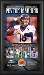 Peyton Manning Denver Broncos Single-Season Passing Touchdown Record 10'' x 18'' Framed Collage with Game-Used Football - Limited Edition of 500 - Mounted Memories