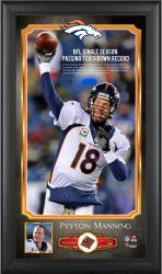 Peyton Manning Denver Broncos Single-Season Passing Touchdown Record 10'' x 18'' Framed Photograph with Game-Used Football - Limited Edition of 500 - Mounted Memories