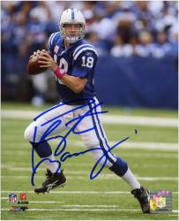 Peyton Manning Indianapolis Colts Autographed 8'' x 10'' Rolling Out Photograph - Mounted Memories
