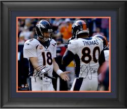 "Peyton Manning & Julius Thomas Denver Broncos Dual Framed Autographed 16"" x 20"" Photograph with TD #51 12/22/13 Inscription"