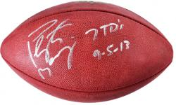Peyton Manning Denver Broncos Autographed Wilson Pro Football with 7 TDs 9/5/13 Inscriptions - Mounted Memories