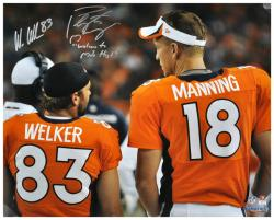 Peyton Manning & Wes Welker Denver Broncos Autographed 16'' x 20'' Back Shot Photograph with Welcome to Mile High Inscription - Mounted Memories