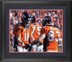 """Peyton Manning & Wes Welker Denver Broncos Framed Autographed 16"""" x 20"""" Handshake Photograph"""