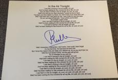 Phil Collins Genesis Signed Autograph In The Air Tonight Custom Lyric Sheet Coa