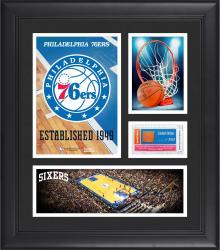 "Philadelphia 76ers Team Logo Framed 15"" x 17"" Collage with Team-Used Baseketball"