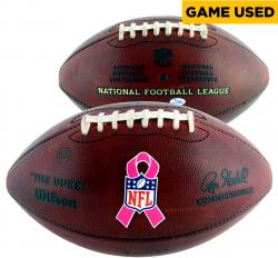 Philadelphia Eagles Game Used Breast Cancer Awareness Football 10/5/2014 Vs. St. Louis Rams