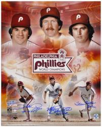 "Pete Rose, Steve Carlton and Mike Schmidt Philadelphia Phillies 1980 World Series Autographed 16"" x 20"" Collage with 3 Inscriptions"