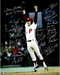 "Philadelphia Phillies 1980 World Series Champions Team Autographed 16"" x 20"" Tug McGraw Jumping Photograph with 24 Signatures and Multiple Inscriptions"