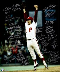 "Philadelphia Phillies 1980 World Series Champions Team Autographed 20"" x 24"" Tug McGraw Jumping Photograph with 24 Signatures and Multiple Inscriptions"