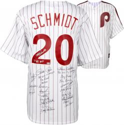 Philadelphia Phillies 1980 World Series Champions Team Autographed Majestic White #20 Jersey with 24 Signatures and Multiple Inscriptions
