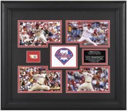 Philadelphia Phillies 4 Pitchers Framed 4-Photograph Collage with Piece of Game-Used Baseball-Limited Edition of 500 - Mounted Memories