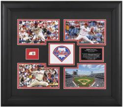 Philadelphia Phillies Triple Threat Framed 4-Photograph Collage - Halladay, Hamels, Oswalt with Game Used Baseball Piece-Limited Edition of 500