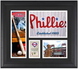 Philadelphia Phillies Team Logo Framed 15'' x 17'' Collage with Piece of Game-Used Ball - Mounted Memories