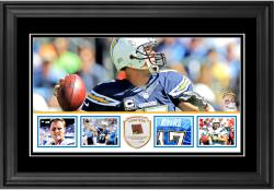 "Philip Rivers San Diego Chargers Framed 10"" x 18""  Panoramic with Piece of Game-Used Football - Limited Edition of 250"