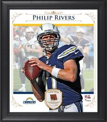"Philip Rivers San Diego Chargers Framed 15"" x 17"" Composite Collage with Piece of Game-Used Football"