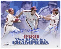 "Pete Rose, Steve Carlton and Mike Schmidt Philadelphia Phillies 1980 World Series Autographed 16"" x 20"" Horizontal Photograph with 3 Inscriptions"